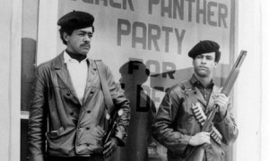 Black Panther national chairman Bobby Seale, left, and Huey Newton