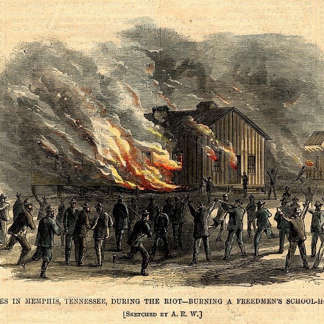 1866 Memphis Riot- white mobs burn black school #whiteriots