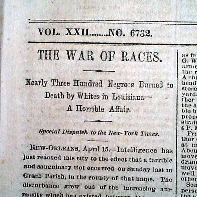 Colfax Massacre 1873, Louisiana. Image: New York Times April 16 1873