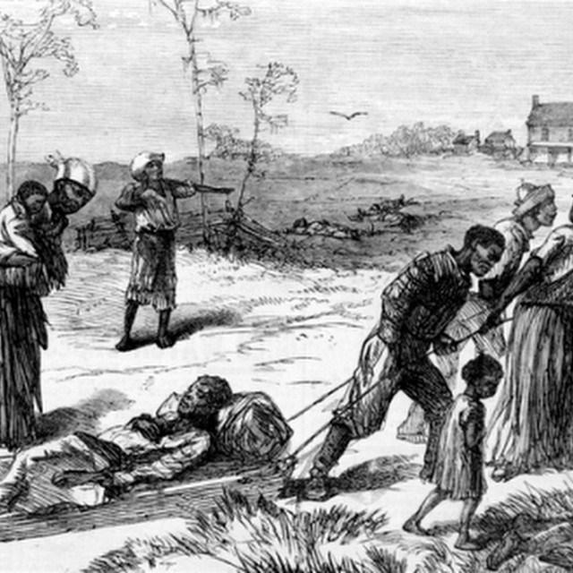 Colfax Massacre, Louisiana 1873. Survivors dragging away the dead and injured