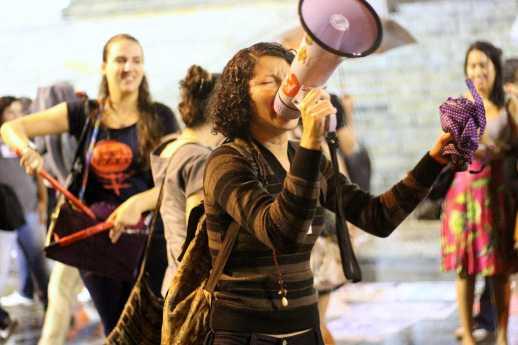 Protestor at pro-abortion rally in Cinelândia Square