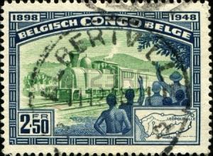 BELGIAN CONGO - CIRCA 1948 A stamp printed in Belgian Congo shows railroad Leopoldville - Matadi,