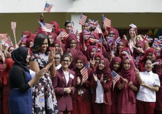Michelle Obama at girls school