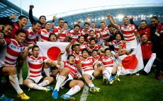 Rugby Union - South Africa v Japan - IRB Rugby World Cup 2015 Pool B - Brighton Community Stadium, Brighton, England - 19/9/15 Japan celebrate victory after the match Reuters / Eddie Keogh Livepic
