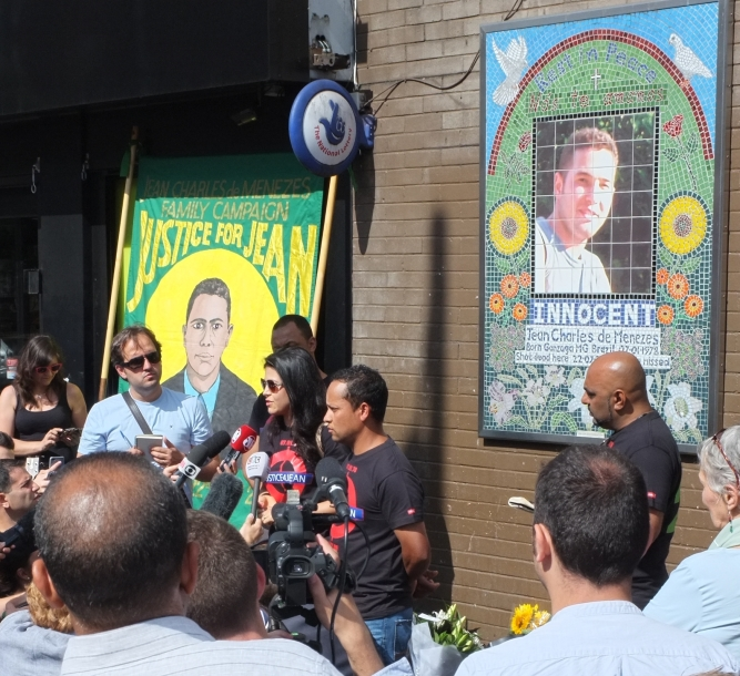 Jean Charles de Menezes Family Campaign on the 10th Anniversary of the Death of Jean Charles de Menezes just outside the Stockwell tube station on 22 July 2015. Speaking is his cousin Vivian Figueiredo.