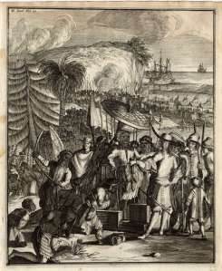 Natives of Arakan (present-day Burma) sell slaves to the Dutch East India Company at Pipely/Baliapal (in Orissa), Jan. 1663; a view from an account of the experiences of a Dutch East India Company surgeon on an expedition 1658-65: 'Wouter Schouten's travels into the East Indies', 2nd ed., Amsterdam, 1708