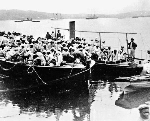 The arrival of Indians in South Africa by boat