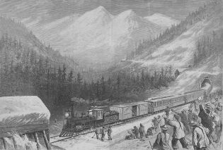 Chinese workers in America building the Central Pacific Railroad (sketch), 1870
