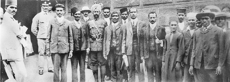 Gandhi and fellow protestors outside prison, South Africa, 1908