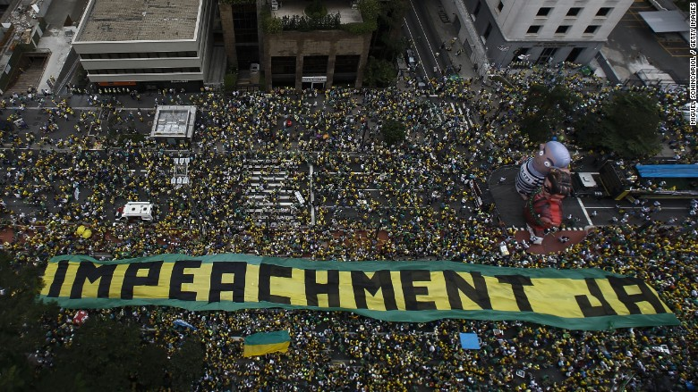 Demonstrators rally to demand Brazilian President Dilma Rousseff's impeachment in Sao Paulo, Brazil, March 16, 2016. (Photo by AFP)