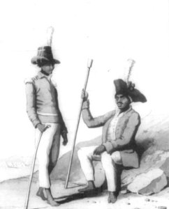 Two Khoi soldiers, 1800s