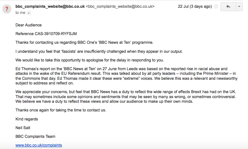 BBC complaints reply, recieved 22 July 2016