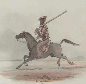 Early painting of mounted KhoiKhoi man