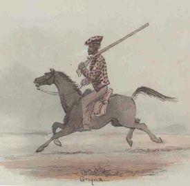Early painting of mounted KhoiKhoi man