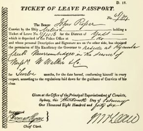 Ticket of leave documents issued to convicts from the New South Wales Colonial government