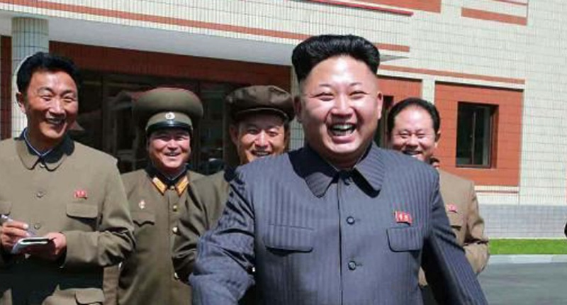 North Korean leader Kim Jong-Un visiting a factory