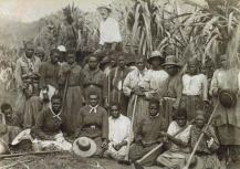 Women from the Pacific Islands working as canecutters on a sugar plantation in Cairns, Queensland. An overseer is in the background, c.1890 Source: Encyclopaedia Britannica