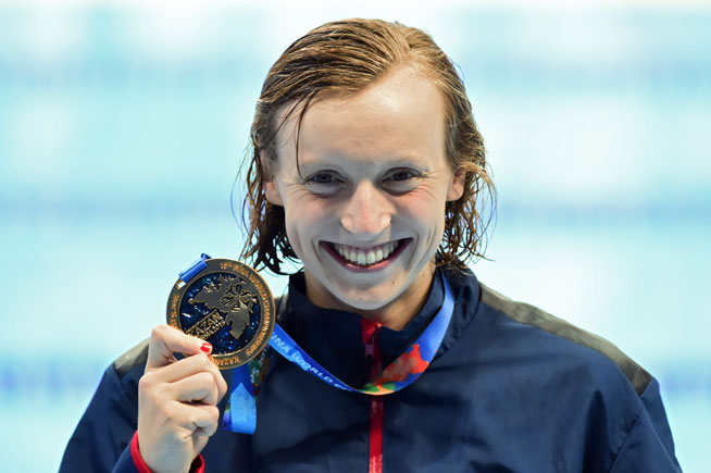 Katie Ledecky of the United States celebrates winning gold in the Women's 200m Freestyle Final on Day 4 of the Rio 2016 Olympic Games at the Olympic Aquatics Stadium on August 9, 2016 in Rio de Janeiro, Brazil.