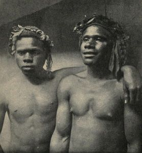 Loyalty Islander men employed as sailors on the New Caledonian coast. Circa early 1900s