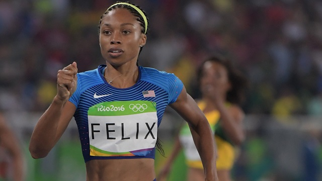 Aug 14, 2016; Rio de Janeiro, Brazil; Allyson Felix (USA) during the women's 400m semifinals in the Rio 2016 Summer Olympic Games at Estadio Olimpico Joao Havelange. Mandatory Credit: Kirby Lee-USA TODAY Sports