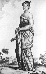 An enslaved Balinese woman in Batavia. The Dutch brought in slaves and traders from outside Indonesia as a way to reduce the chance of revolt. (Artist: Cornelis de Bruyn)