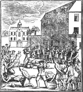 Depiction of the Batavia Massacre of 1740, where at least ten thousand Chinese people were massacred (Illustrator unknown)