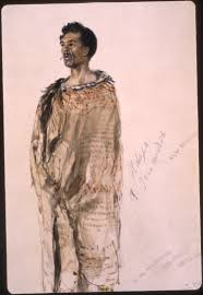 Portrait of Hohepa Te Umuroa, a Maori anti-colonial fighter who was exiled to Australia. This portrait was one, along with those of four other Maori political prisoners, in Hobart Penitentiary on 16 and 17 November 1846. (Sketch: John Skinner Prout)