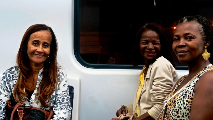 "Got chatting on the train with these women who were on their way to the Olympics fan zone, in the city's port area. In the end they all wanted to take selfies with me for some strange reason, I jus complied. ""We are loving the Olympics. Do you know anyone looking for parking spaces? I''m renting out my garage."""