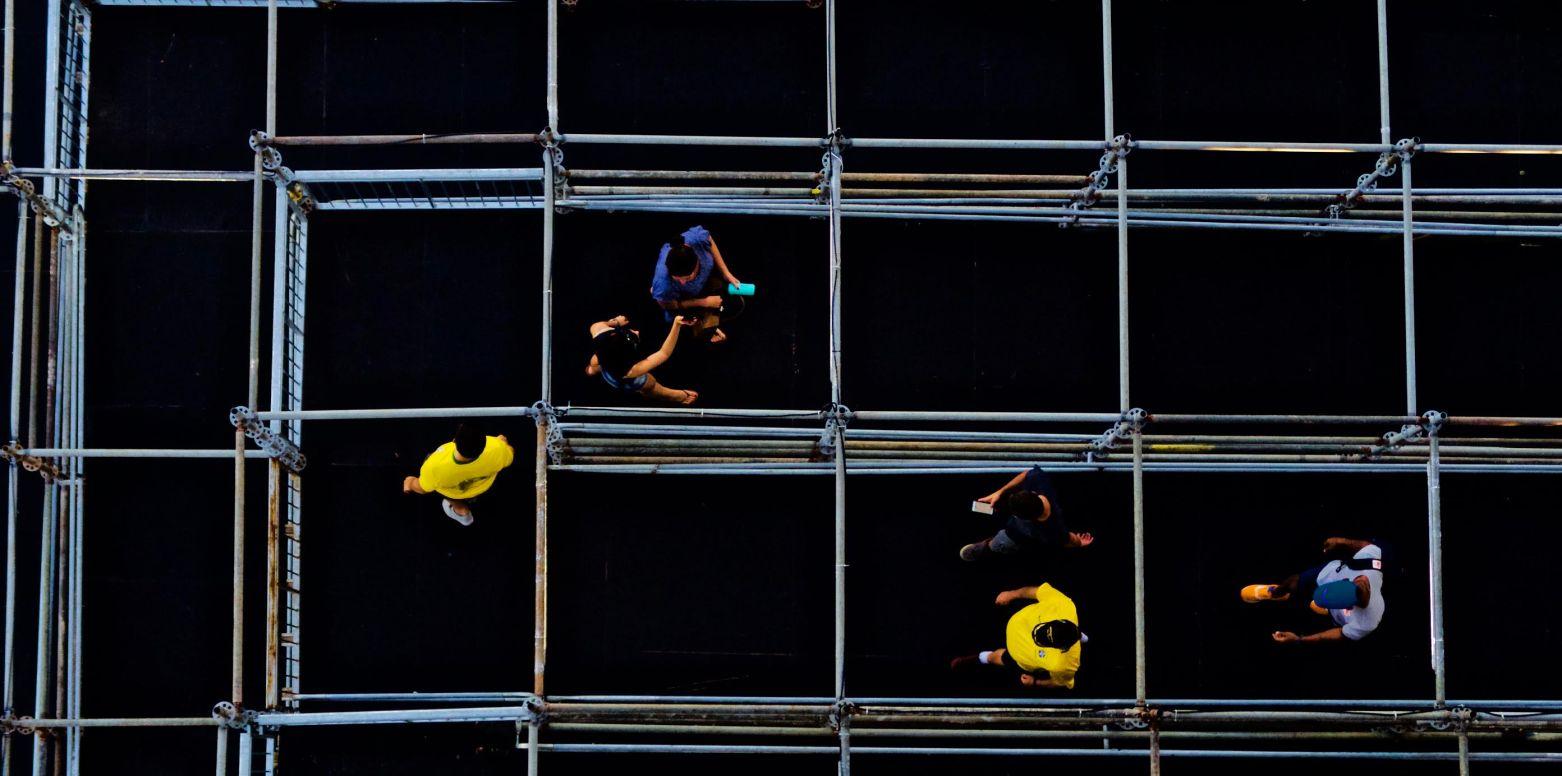 People leaving Copacabana's beach volleyball arena in Rio de Janeiro