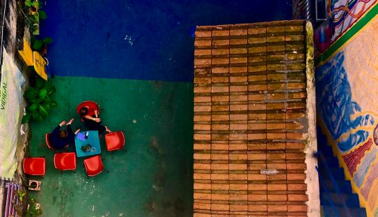 View from above of the Favela Experience hostel in Vidigal. The hostel gives 40% of its profit back to the community.