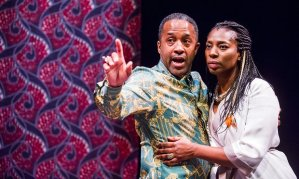 As King Claudius in Hamlet, with Tanya Moodie as Gertrude