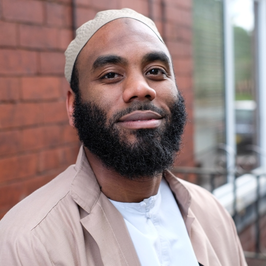 Bilal Brown, 38, imam based in Oldham. Photographed in July 2017 outside his house.