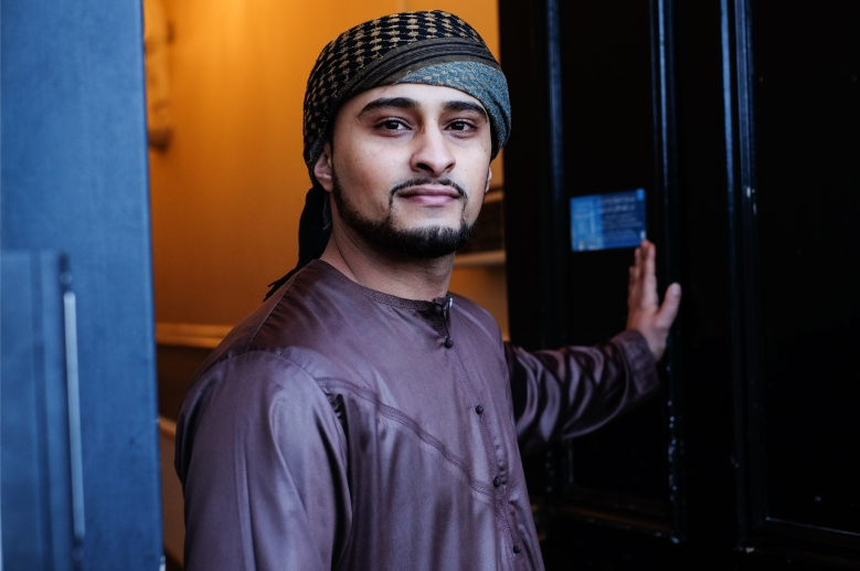 Waddah Saleh, 24, imam at the Abdullah Quilliam mosque in Liverpool. Photographed at the mosque's entrance in January 2018.